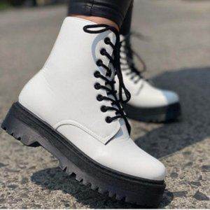 White Vegan Leather Lace Up Combat Boots
